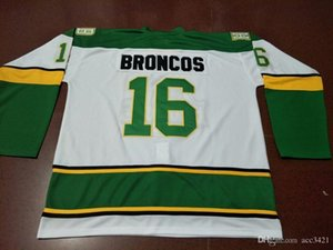 Men real Full embroidery #16 Humboldt Broncos HOCKEY JERSEY or custom any name or number retro Jersey
