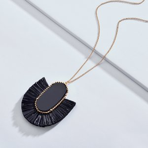 Мода Кендра Стиль Дизайнер Вдохновленный Бренд Ювелирных Изделий Овальный Камень RAFFIA STRAW Fan Fringe Кисточкой Ожерелья для Женщин