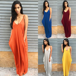 Europe and America 2020 Summer Hot Sale Europe and America Strap Deep V Pocket Solid Color Women's Dress