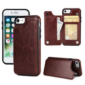 Caja del teléfono de cuero de la PU para iphone 11 Pro Max XR X 8 Funda de billetera de TPU suave Contraportada de lujo con ranuras para tarjetas de crédito
