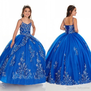 2020 Royal Blue 3D Gold Lace Applique Girls Pageant Dresses With Jacket Lace Up Spaghetti Straps Flower Girls Birthday Dress