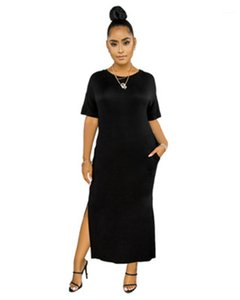 Open Side Short Sleeve Dresses Summer Designer Female Long Section Solid Color Dresses Womens Multicolor Elasticity Dress Elegant Casual