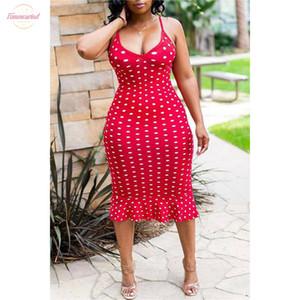 Frauen reizvoller Bügel-Kleid-Polka-Punkt-Maxi Kleid ärmellos Damen mit V-Ausschnitt ärmellosen Kleid Bodycon mit Rüschen Beach Party Wear Sommer 2020
