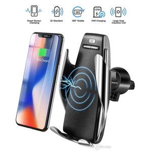 S5 Wireless Charger Automatic Clamping Car Charger Holder Mount Smart Sensor 10W Fast Charging Charger for Universal Phones MQ20