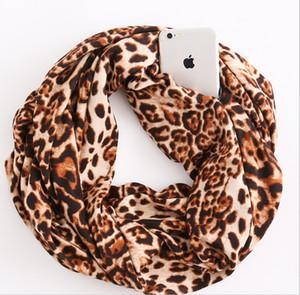 Мода портативный Женщина Convertible Бесконечность шарф с Zipper Карманное Все Match Leopard печати Путешествия Путешествия Scaves