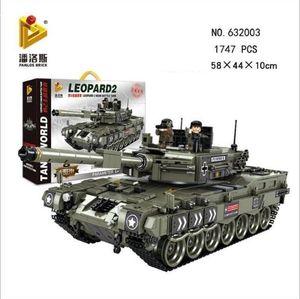 Leopard 2 Main Battle Tank Girl Building Blocks 1747 Pz Soldato Bicks educativi giocattoli per i ragazzi figli