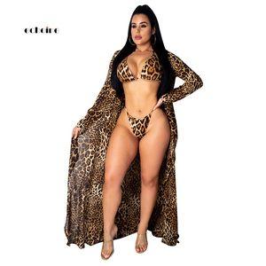 Echoine Frauen 3 Stück Set Leopard-Druck-Umhang Verband Sexy BH-Vertuschung Mantel Bikini Suits-Ferien-Strand-Art-Schwimmen