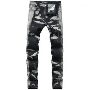 Vita Stampa Mens pantaloni grigi Spots Regular Jeans Uomo Moda Lungo tratto matita del progettista Pantaloni Mid