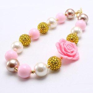 Rosa moda rosa do bebê da flor Colar Kid Chunky Beads + cor do ouro menina Bubblegum Chunky Beads Colar Jóias Para Crianças
