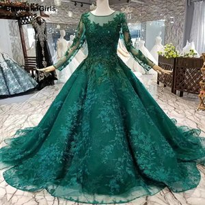BacklakeGirls Royal Green Muslim Evening Dress Tulle Long Sleeves O Neck Beads Flower Ball Gown Women Occasion Dress Custom Size