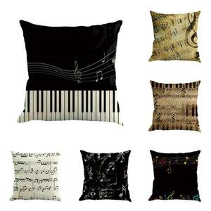 Paquete de 6 fundas de almohadas de tiro, funda de almohada Funda de almohada Funda de cojín Music Square para el regalo de Navidad del día de San Valentín