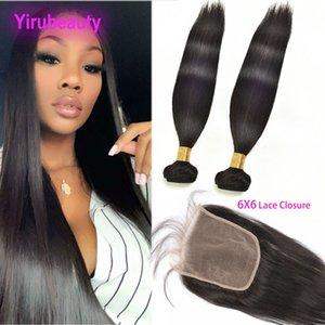 Бразильский 2 пачки С 6X6 кружева Закрытие Straight Virgin Наращивание волос Утки с кружевом Закрытие волос младенца Dyeable Natural Color 8-28inch