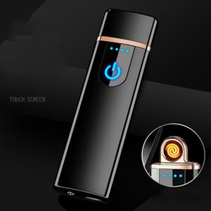 Personalità Usb carica Accendino frangivento tocco Induced energia elettrica di calore della Seta punto di fumo Detector