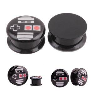 2 UNID Negro Gamepad Tornillo Tapón del Oído Túnel Acrílico Expansor del Oído Piercing Joyas Calibradores del Oído 6mm-25m