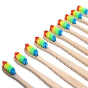 500 adet Renkli Bambu Diş Fırçası Yenilik Gökkuşağı Ahşap Diş Fırçası yumuşak kıl Bambu Elyaf Ahşap Saplı kraft kutusu