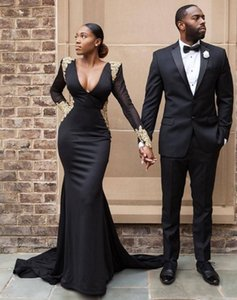 Sexy Plus Size Black Girl Prom Dresses Gold Lace Formal Evening Gowns Mermaid Dress Long Sleeves Backless Black Prom Dresses