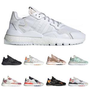 Xshfbcl 2020 Hot Nite Jogger Chaussures de course pour Hommes Femmes Noir Triple blanc de base en or rose Respirant Entraîneur Sports de plein air Chaussures de sport