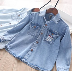 Kids denim shirt 2020 fall new children embroidered double pocket cowboy shirts boys girls single-breasted long sleeve casual tops A3444