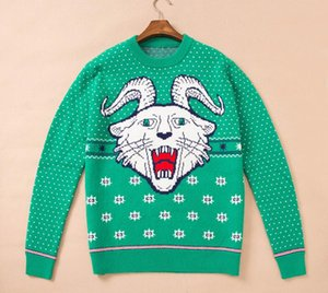 19ss 남성 디자이너 스웨터 파리 염소 뿔 타이거 로고 자카드 스웨트 자켓 긴팔 셔츠 남녀 신품 스웨터 무료 배송
