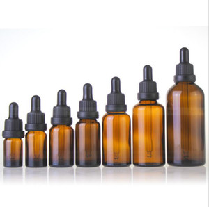 Al por mayor de 5 ml 10 ml 15 ml 30 ml 50 ml 100 ml botellas de vidrio ámbar cuentagotas Para perfume del aceite esencial Cosmeti Con cuentagotas Negro Caps