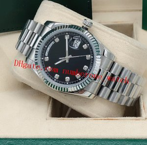 Free Shipping 36mm Mens 18kt Gold Silver Diamond Dial Fluted Bezel 118238 Automatic Fashion Men's Watches Wristwatch