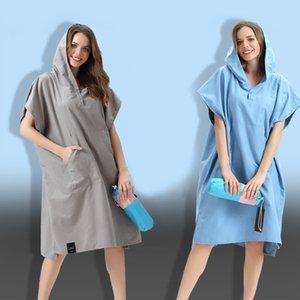Changing Robe Bath Towel Outdoor Adult Hooded Beach Towel Poncho Bathrobe Towels Women Man Bathrobe