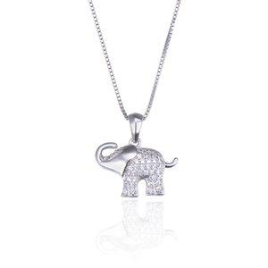 s925Sterling Silber koreanische Art und Weise Schlüsselbein Elefanten Persönlichkeit Mikro eingelegte Halskette Frauen