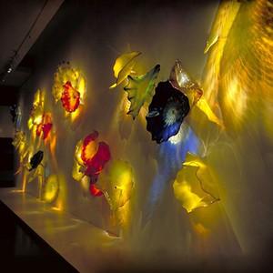 Wall Hanging Placa Murano vidro borosilicato Blown Plate Glass para Wall decorativa Arte Moderna de suspensão Placa de vidro soprado decoração da parede