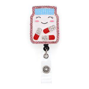 10pcs lot Free Shipping Pink Rhinestone Medicine bottle badge holder cartoon Nurse  Doctor  Office pill badge reel