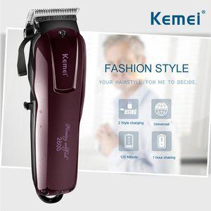 KEMEI Professional Electric Hair Trimmer Beard Shaver 100-240V Rechargeable Hair Clipper Titanium Knife Hair Cutting Machine KM-2600