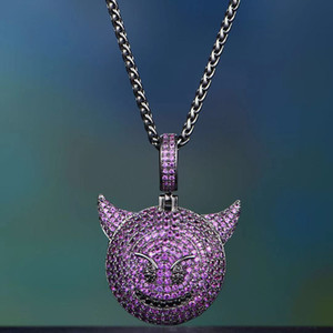 Hip hop Emjoy Pendant Necklace Iced Out Full Zircon Gold Silver Color Plated Men Halloween Party Jewelry Gift
