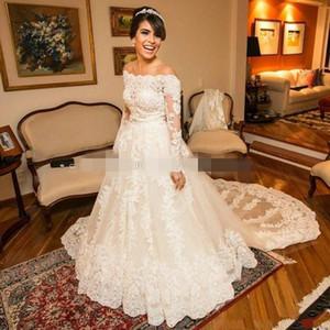 Elegante Off the Wedding spalla Abiti a maniche lunghe pizzo applique smerlato cappella treno plus size abito nuziale del vestido de novia