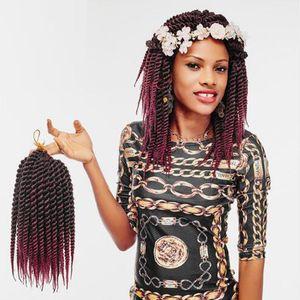 Hot! 3Pcs 14 18&quot Kanekalon Crochet Braid Havana Mambo Twist Synthetic Braiding Hair Extensions Burgundy Black Blonde Silver Ombre Color