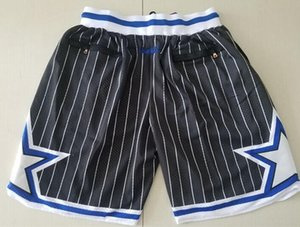 New Shorts Team Shorts 92-93 Vintage Baseketball Shorts Zipper Pocket Running Clothes Black White Stripe Color Just Done Size S-XXL