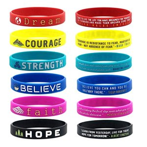 Inspirational Colorful Bracelets With Positive Words Dream Courage Believe Hope Faith Strength Motivational Silicone Wristband
