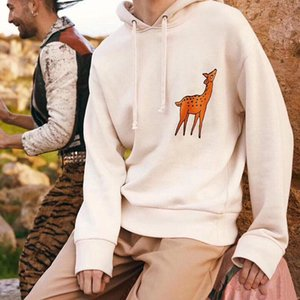 19SS Made in Italy Classic Fawn Embroidery Hoodies Sweatshirt Men Women Spring Autumn Street Hooded Pullover Sweater Tops HFYMWY250