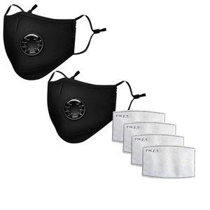 prezzo più basso Maschera Maschere viso Cotone Moda unisex con il fiato Valve PM2.5 Bocca maschera anti-polvere riutilizzabile maschera in tessuto con 2 filtri all'interno