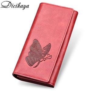 Dicihaya donne del cuoio genuino del portafoglio della borsa lunga farfalla goffratura portafogli titolari di carte femminili carteira feminina borsa del telefono Y19051702