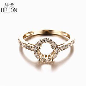 Helon Sólido 14k amarelo ouro genuíno diamantes naturais Wedding Engagement Semi Monte Anel Mulheres Trendy Fine Jewelry Fit 6 milímetros Redonda