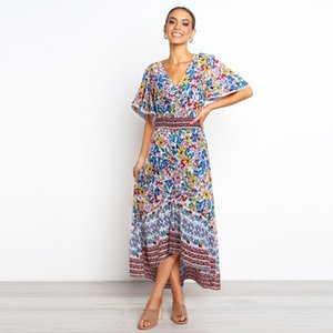 Fashionable Elegant Dress Holiday Bohemian Floral Style Women's Printed Flared Sleeve Dress V-Neck Ruffles