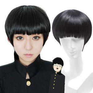"Mob Psycho 100 Shigeo Kageyama Black Short Hair Wig 25"" Osomatsu-kun Cosplay Wig"