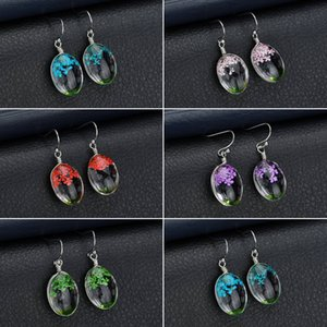 New Flower Dangle Earrings for Women Girl Fashion Handmade Natural Flowers Earrings Unique Design Vintage Glass Earrings Jewelry