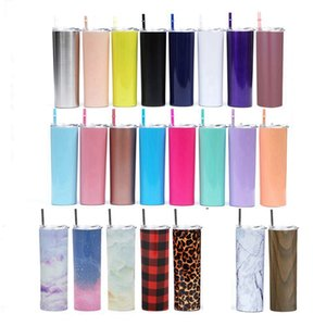 20oz Skinny Stainless Steel Cups 600ml Leopard Grid Straight Tumbler Water Mugs Outdoor Sport Bottle Vacuum Cup With Straws Lid RRA3165