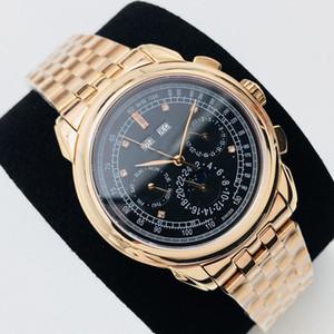 PP Fabrik Männer Super komplexe Funktions Timing Uhren von 41MM alle Stahl plattierten nano Platingehäuse mit italienischem Kalbsleder Saphir crysta