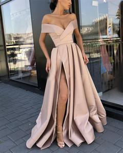 Designer Abiti 2K19 sexy Prom Dresses una linea del fronte Spalato lungo del partito di sera Wear Gowns