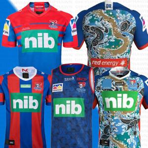 2019 Austrália NEWCA STLE KNIGHTS Casa Colete Rugby Jersey NEWCAS TLE KNIGHTS 2019 Indígena Jersey Jersey de Rugby NRL Camisolas da Liga de Rugby