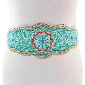Charms Bohemia étnicas Resina contas elástico Strech ajustável Festival Belt Partido indiano da dança de barriga cintura Cadeia T200507 Body Jewelry