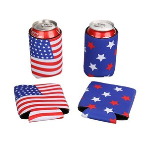 American Flag Beer Bottle Cooler Sleeves Neoprene Protection Insulation Sleeve Holder Soft Drinks Covers With Zipper Customize Multicolors
