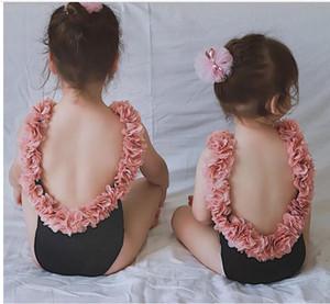 enfants enfants fille dos ouvert tutu fleur pétale couleur unie bikini bord dos ouvert mère daugther maillot de bain une pièce maillot de bain monokini