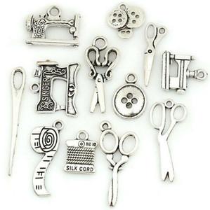 Тибетское серебро Подвески МАШИНА ~ SCISSORS ~ ~ НИТИ ИГЛЫ ~ переключате Подвески DIY ювелирных изделий для браслета ожерелья Keyring Accessaries дружбы подарок